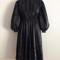 PRUE ACTON!!! Vintage 80s 'Prue Acton' black taffeta Victorian inspired party dress with high neck, huge gathered sleeves and lace trim