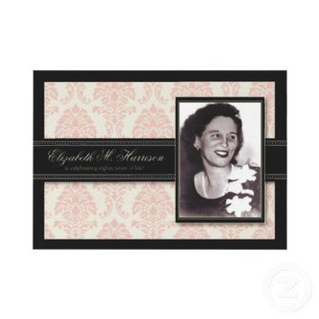 Golden Years Damask Birthday Party Invite (pink) from Zazzle.com