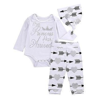 Newborn Autumn baby boy clothing set  Long Sleeve Romper+ arrow Pants +Hat 3pcs suit baby boy clothing sets infant clothing