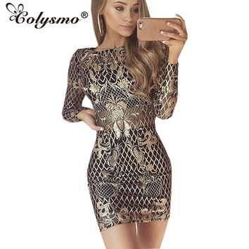 Colysmo Fashion Long Sleeve O-Neck Sexy Sequin Dress Gold Autumn Sheer Party Dress Winter Women Bodycon Dresses Christmas Gift