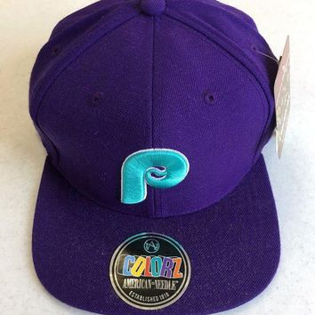 DCCKIHN AMERICAN NEEDLE PHILADELPHIA PHILLIES RETRO PURPLE SNAPBACK HAT