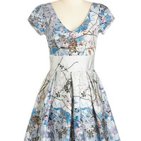 ModCloth 50s Mid-length Short Sleeves Fit & Flare Marvelous Moonglow Dress