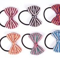 Striped Bows Hair Ties - Beautiful Hair Accessories for Girls by Little Pink
