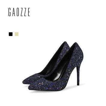 GAOZZE Women Pointed Toe High Heels Pumps Female Fashion Bling Glitter Party Shoes Pumps Women Wedding Shoes 2018 Spring New