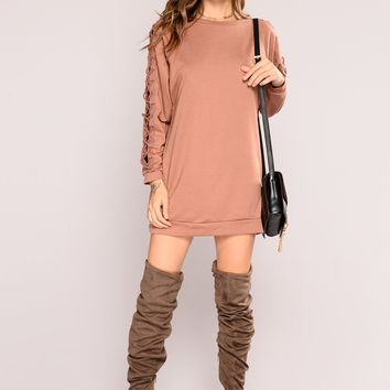 Lace You Up Tunic Sweater - Dark Mauve