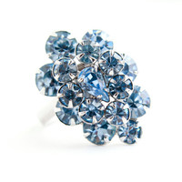 Vintage Blue Rhinestone Ring - Statement Adjustable Silver Tone Costume Jewelry / Marquise Cocktail Cluster