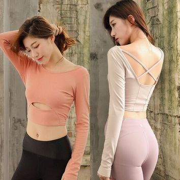 Women Sports Top Gym Yoga Crop Tops Yoga Shirt Long Sleeve Workout Sportswear Fitness Running Sport T-Shirt Solid Athletic Wear