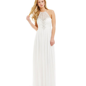 B. Darlin High Neck Crystal Illusion Gown | Dillards
