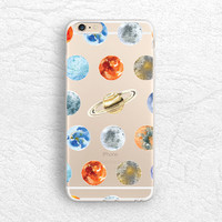 iPhone 5s iPhone 6s Cute Planets Transparent hard case, Universe clear soft case for Samsung S7, HTC One M9 M8, LG G4, Sony Z5 compact -A21