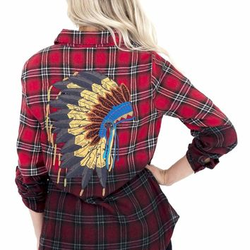 Women's Plaid Flannel Pullover with Headdress Back Detail