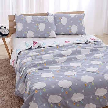 Summer style patchwork quilts pastoral style quilted quilts full queen king size summer blankets thinner duvets print comforter