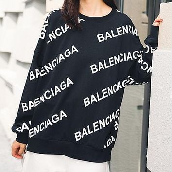 BALENCIAGA New Popular Women Casual Letter Print Long Sleeve Round Collar Sweater Pullover Top Sweatshirt Black