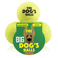 The Big Dog's Balls, 3 Large Tennis Balls, Premium, Strong Dog Toy Ball for Dog Fetch & Play. Large Dogs Balls, Too Big for Chuckit Launchers, the King Kong of Dog Balls