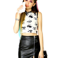 ANIME EYES CROP TANK