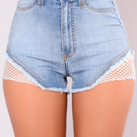 Pia Fishnet Denim Shorts - Light Blue