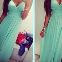 Hot Sale Stylish Sexy Deep V Spaghetti Strap Slim Prom Dress One Piece Dress [6338880577]