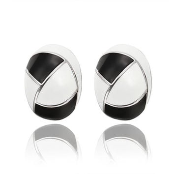18K White Gold Inline Acorn Shaped Onyx & Ivory Stud Earrings Made with Swarovksi Elements