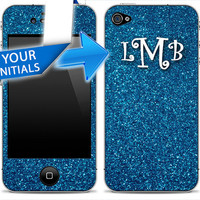 Blue Glitter MONOGRAM iPhone 4/4s or 5 Skin FREE SHIPPING Your Initials