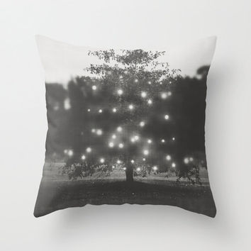 Christmas Lights Home Decor Throw Pillow Cover Hanging Lights and Bokeh Fine Art Photography Decorative Pillow