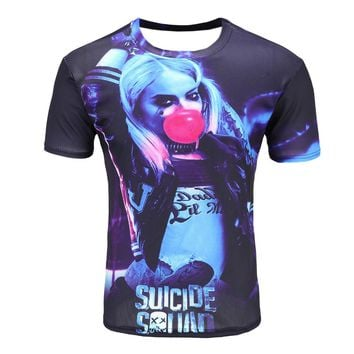 2017 Summer Movies Suicide squad Men Women 3D t shirt printed Harley Quinn joker deadshot t shirt casual Tops tee free shipping