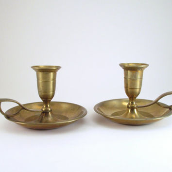 Vintage Brass Handled Candle Holders, Pair of Brass Candlestick Holders, Brass Table Decor, Gold Holiday Decor, Holiday Table Candle Holders