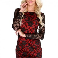 Red Black Lace Long Sleeve Sexy Cocktail Dress