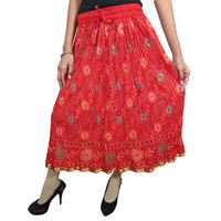 Mogulinterior Womens Gypsy Hippie Skirt Red Floral Printed Indian Designer Crinkle Lacework Boho Chic Skirts