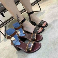 Louis Vuitton LV Women Fashion Leather Buckle Sandals Shoes