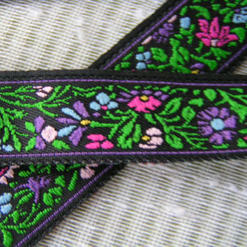 """6 yards, Purple, Fuchsia, Green Floral on a Dark Royal Purple Background Jacquard 3/4"""" wide for all craft projects and Washable"""