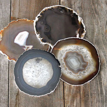 In stock and ready to ship--Set of Four Silver Rimmed Agate Coasters