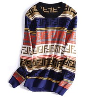 FENDI Autumn Winter Newest Fashion Women Casual Stripe F Letter Jacquard Round Collar Sweater Top Sweatshirt