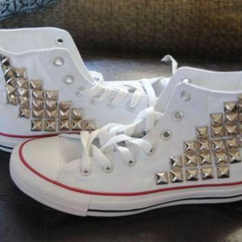 CREYON made to order studded high top converse by themermaidgypsy on etsy