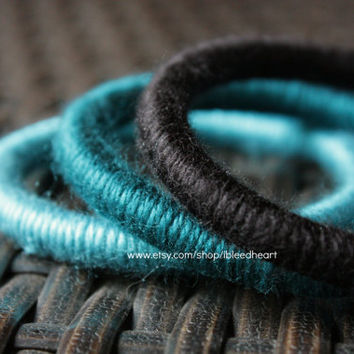 Three Yarn Wrapped Bangle Bracelets - Black, Dark Blue, and Light Blue