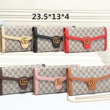 """""""Gucci"""" Fashion All-match Double G Letter Embossed Texture Metal Chain Single Shoulder Messenger Bag Women Clutch Small Bag"""