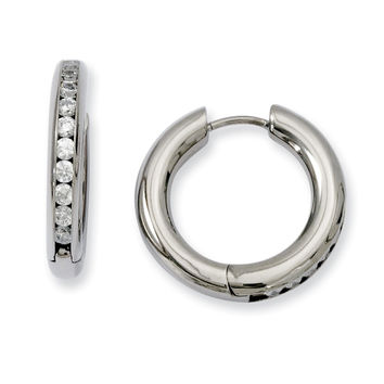 Titanium CZ Hinged Hoop Earrings TBE103