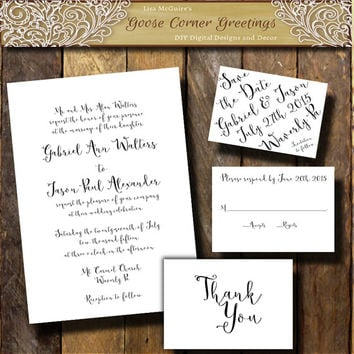 Printable Black & White Calligraphy Inspired Invitation suite Handwriting invitations Calligraphy invitations Any color Formal wedding