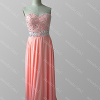 Beaded Prom Dresses Coral Pink Long Evening Dresses Crystals Party Dresses Bridesmaid Dresses Sweetheart Women Formal Gown Lace up Back 2015