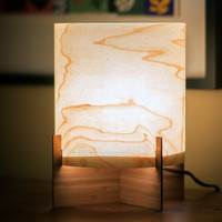 EMBER series Modern Maple Wood Veneer Table Lamp with Bamboo Base - Ambient Accent Mood Lighting Design