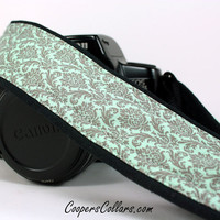 Aqua Damask dSLR Camera Strap, Aqua, Grey, Gray, SLR