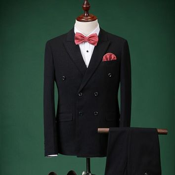 Envmenst Double Breasted 2pc Striped Business Suit