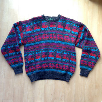 RAD Colorful Men's Vintage Hunt Club Sweater / XL 46-48