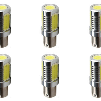 6W COB LED 12V Light Bulb BA15s BA15d 1156 1157 Truck Train Bus Lamp - 6 Pack
