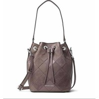 Michael Kors Argyle Dottie Medium Bucket Bag Plum Or Cinder In Pkg