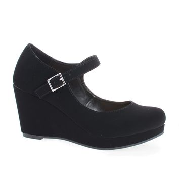 Mark Black By City Classified, Round Toe Mary Jane Platform Wedge Sandals