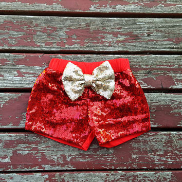 NEW Red Big Bow Sparkle Shorts, Baby Girls, Girls, Toddler, New Baby, Baby Shower Gift, Birthday, Cake Smash, Glitter, Shimmer