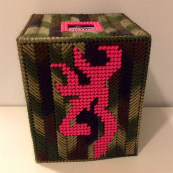 Browning Deer Head,  Camo Tissue Box Cover, Camouflage Room Decor, Boutique Tissue Box Cover, Needlecraft Box Cover, Hunters Box Cover