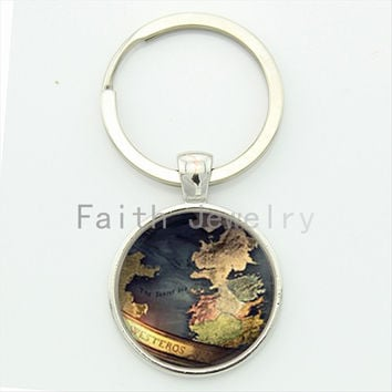 Game of thrones westeros map keychain vintage charm map pattern glass cabochon dome alloy key chain your finish choice  KC168