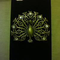 Iphone 4/4s Black peacock hard case with rhinestones with swarovski elemtns and FREE screen protector