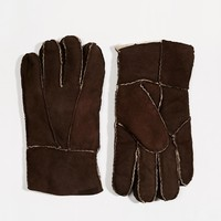 ASOS Gloves In Brown Suede at asos.com