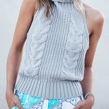 Sleeveless Pullover Sweater Pale Blue